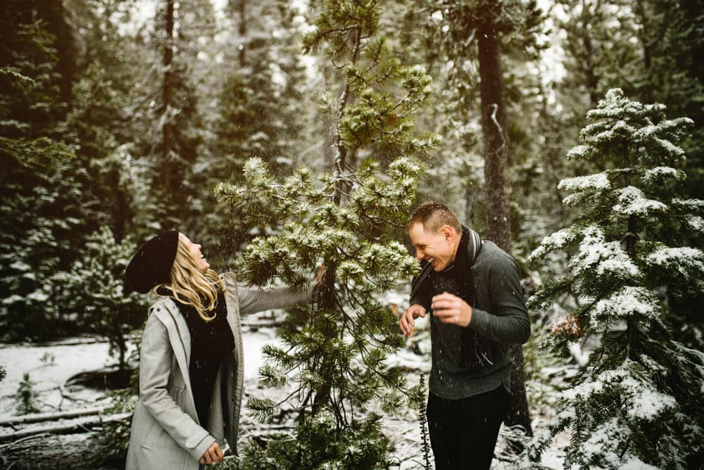 Bend Oregon Outdoor Engagement Photos with some Snow