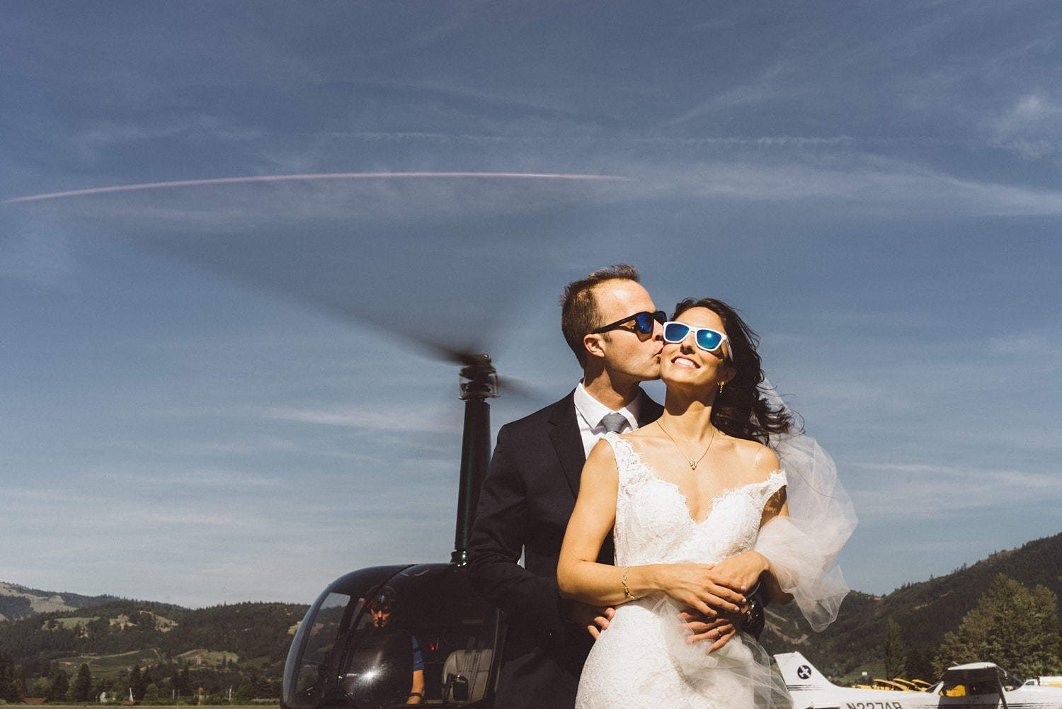 Bride and Groom Heading to Mt Hood Organic Farms in a helicopter.